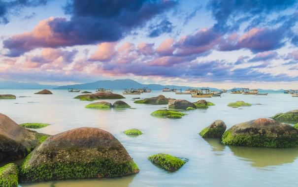 Фото обои небо, облака, водоросли, скалы, холмы, лодки, силуэт
