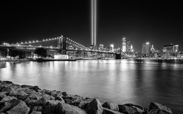 Фото обои мост, огни, камни, океан, катастрофа, памятник, башни