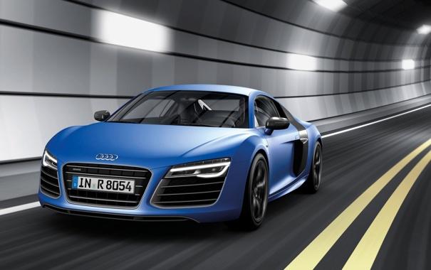 Фото обои синий, Audi, Ауди, суперкар, тоннель, передок, V10