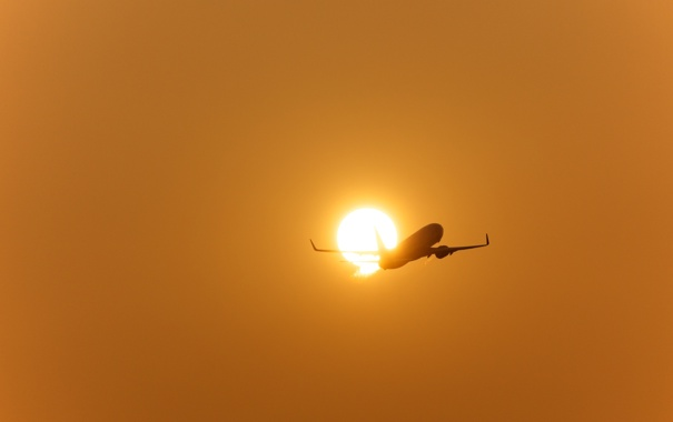 Фото обои закат, Boeing, самолёт, беда