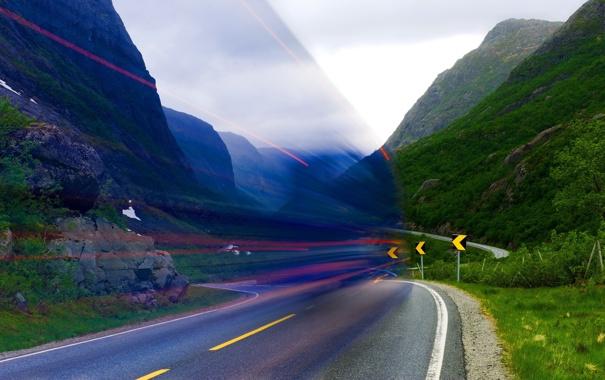 Фото обои эффект, дорога, цвет
