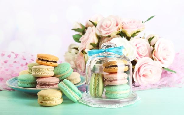 Фото обои розы, печенье, десерт, sweet, dessert, cookies, macaron