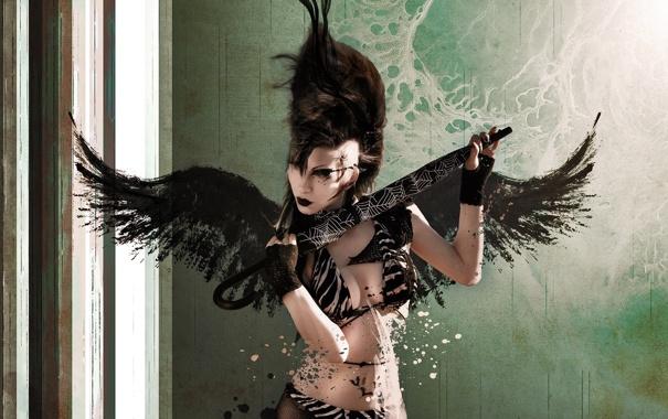 Фото обои взгляд, Девушка, крылья, прическа