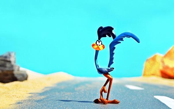 Фото обои дорога, песок, небо, солнце, пустыня, тень, Looney Tunes