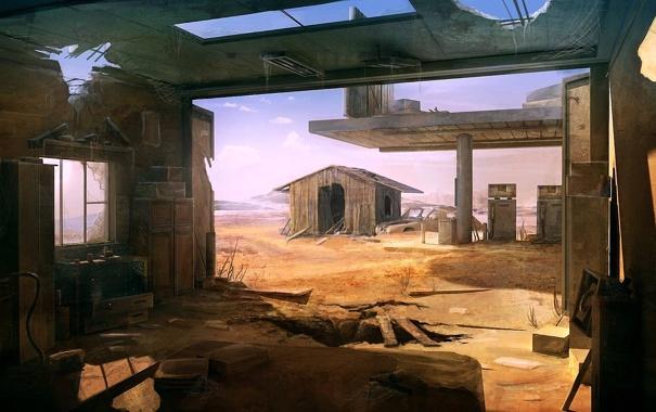 Фото обои песок, пустыня, здания, заправка, арт, разруха, амбар