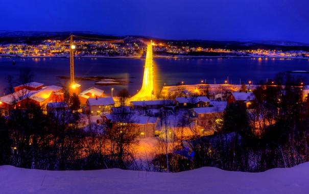 Фото обои зима, небо, снег, ночь, мост, природа, огни