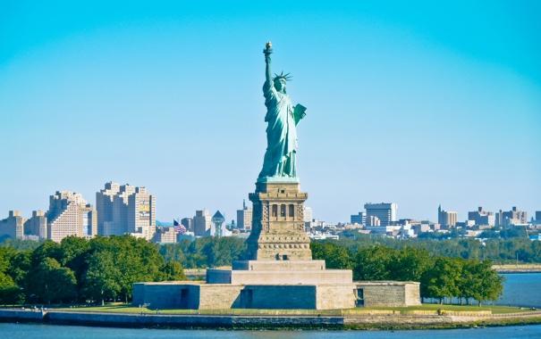 Фото обои sky, skyline, статуя Свободы, blue, city, Нью-Йорк, manhatten