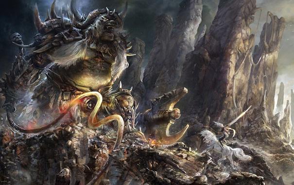 Фото обои девушка, камни, оружие, скалы, конь, монстр, меч