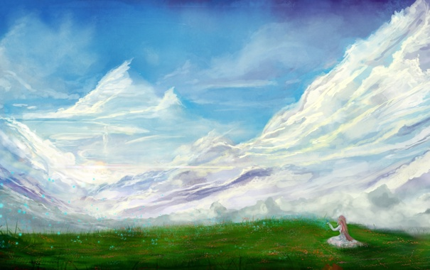 Фото обои трава, облака, горы, природа, бабочка, арт, сидя