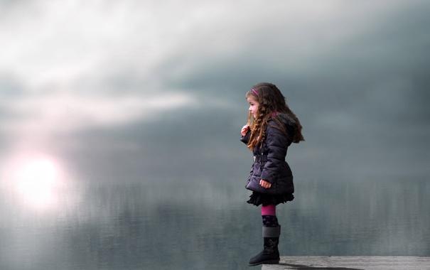 Фото обои взгляд, озеро, настроение, девочка