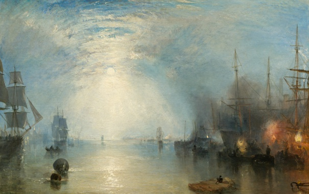 Фото обои небо, облака, корабли, картина, парус, морской пейзаж, Уильям Тёрнер