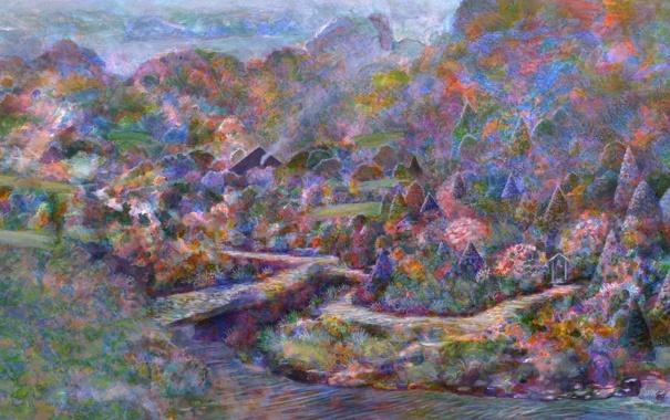 Фото обои деревья, мост, река, холмы, картина, Naohisa Inoue