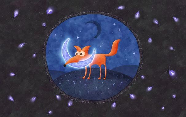 Фото обои ночь, светлячки, луна, месяц, лиса
