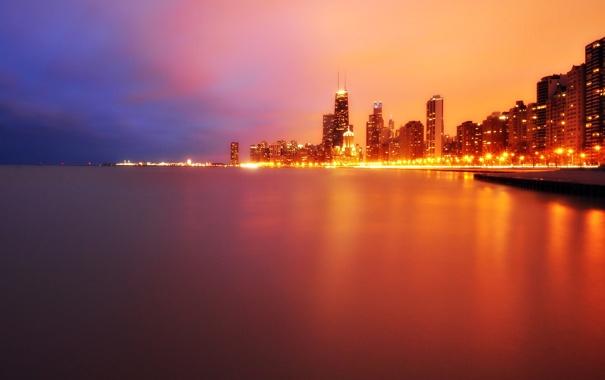 Фото обои ночь, огни, небоскребы, USA, чикаго, Chicago, мичиган
