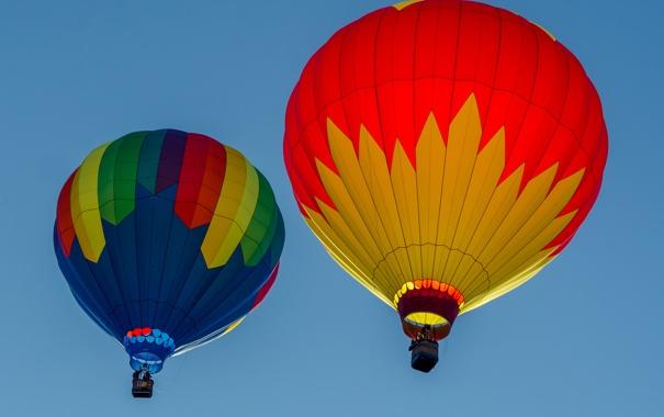 Фото обои небо, полет, воздушный шар, корзина