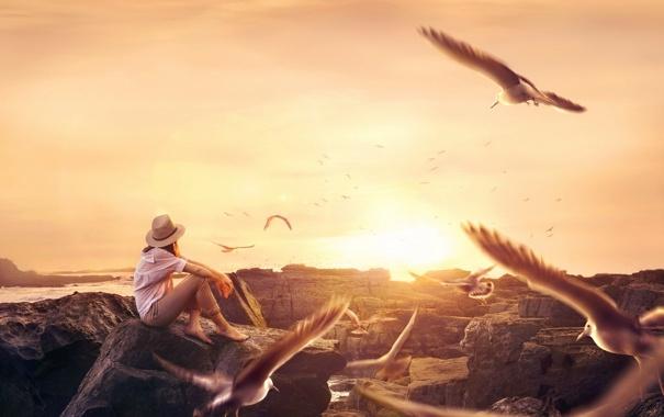 Фото обои девушка, птицы, настроение