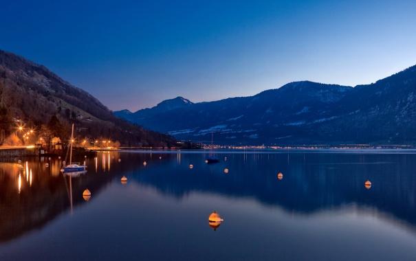 Фото обои горы, огни, озеро, яхта
