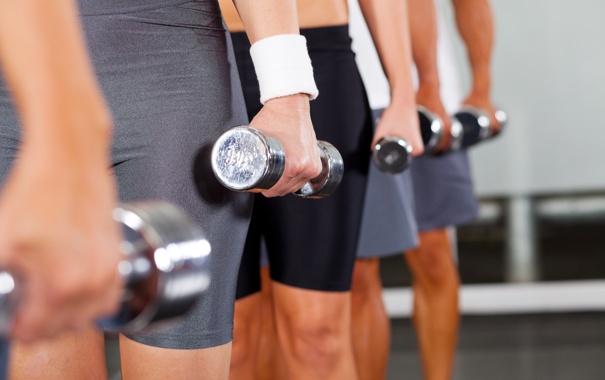 Фото обои group, fitness, gym, dumbbell