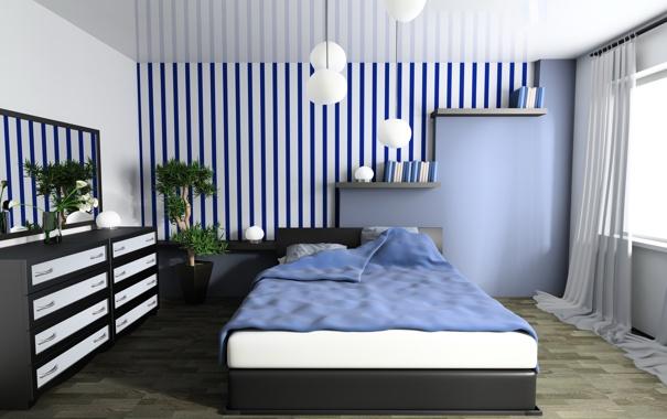 Фото обои comfort, room, interior, bed, bedroom, convenience