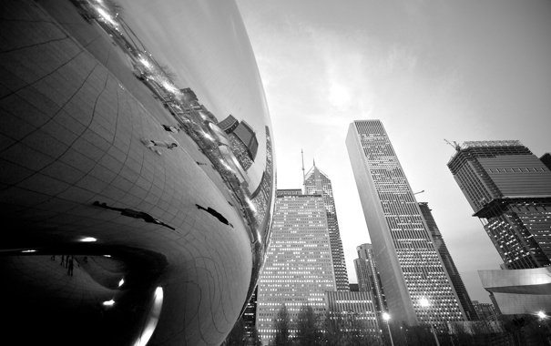 Фото обои Chicago, wallpapers, Building, Black and White, Millennium Park