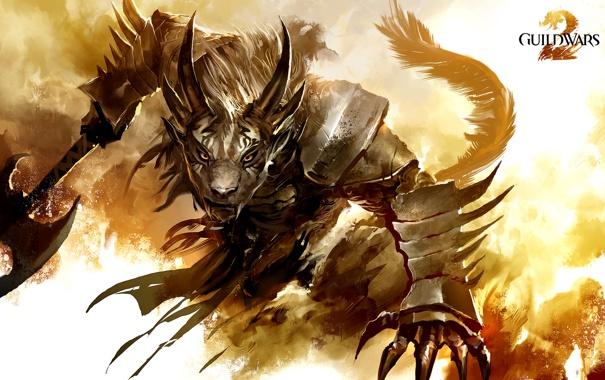 Фото обои рога, латы, зверь, клыки, хвост, доспехи, воин