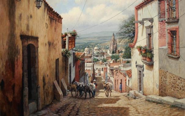 Фото обои мостовая, улица, фонарик, город, балконы, ослики, деревья