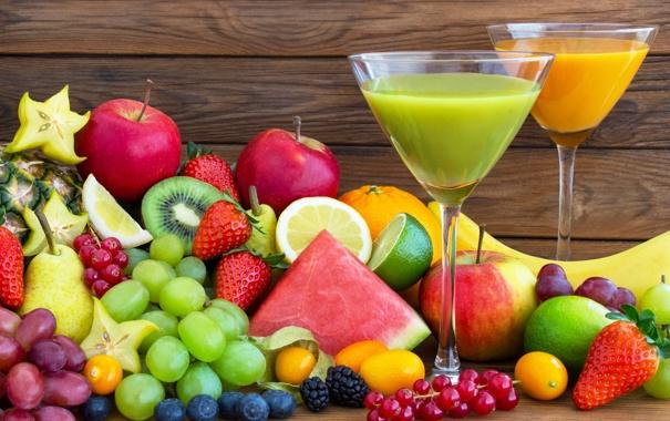 Фото обои ягоды, сок, juice, фрукты, fresh, fruits
