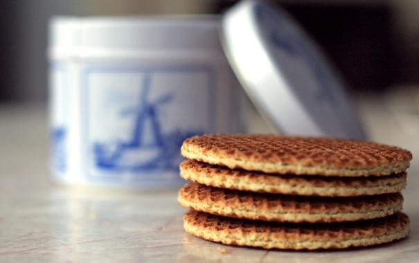 Фото обои макро, еда, завтрак, печенье, вафли, сладкое