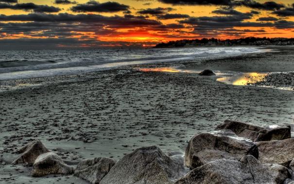 Фото обои море, пляж, небо, облака, пейзаж, закат, природа