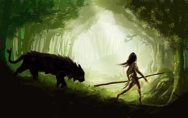 Фото обои лес, свет, животное, Девушка, копье