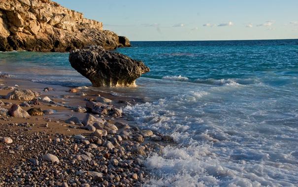 Фото обои море, пена, камни, океан, побережье, склон, прибой