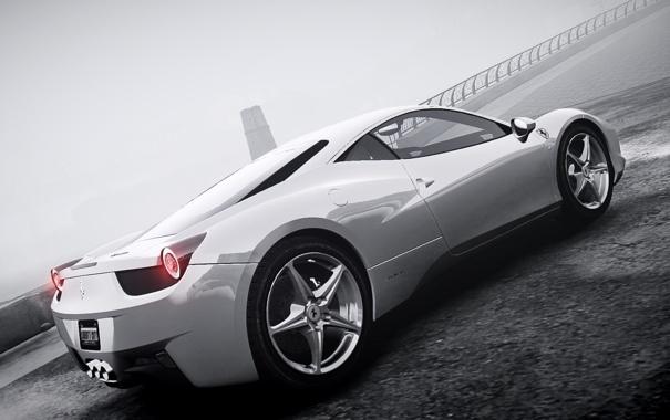 Фото обои машина, туман, ч/б, GTA 4, Ferrari Italia.