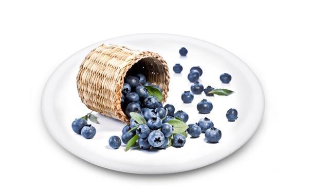 Фото обои ягоды, черника, тарелка, туясок