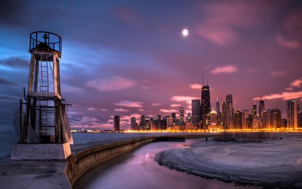 Фото обои ночь, город, Чикаго