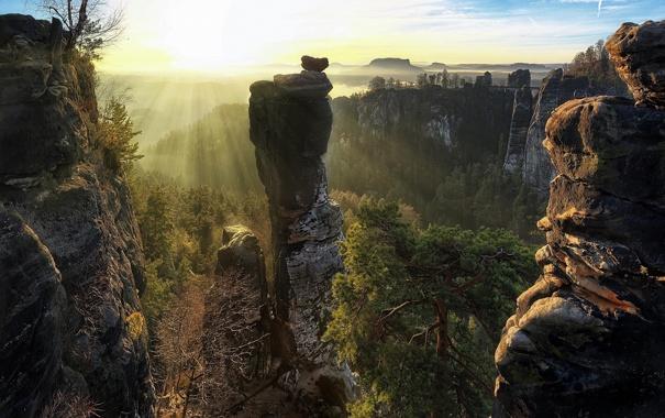 Фото обои солнце, горы, Saxon Switzerland