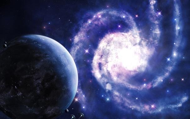 Фото обои планета, спираль, галактика, звездолеты