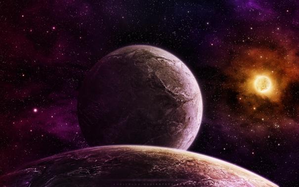 Фото обои звезды, планета, спутник, рельеф