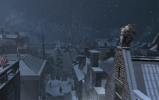 Фото обои город, коннор, Assassin's Creed III, AC III Connor Rooftop Chase