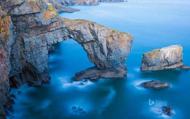 Фото обои море, скалы, арка, Уэльса, национальный парк Пембрукшир, зеленый мост Уэльса