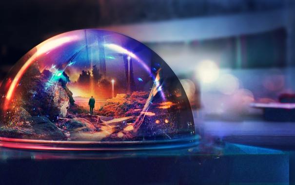 Фото обои стекло, фантастика, мир, человек, шар, хрустальный шар