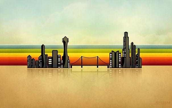 Фото обои линии, мост, город, здания, jugga lizzle, illustrious boom town