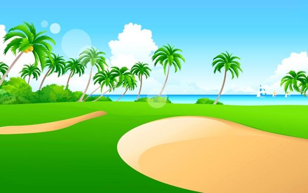 Фото обои море, небо, трава, пальмы, лодка, вектор, парус