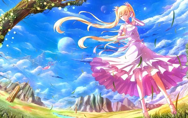 Фото обои девушка, платье, kazeno
