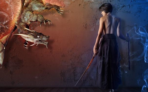 Фото обои девушка, дракон, дым, меч, искры