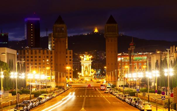 Фото обои дорога, ночь, огни, проспект, фонари, башни, Испания