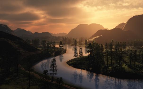 Фото обои дорога, деревья, горы, река