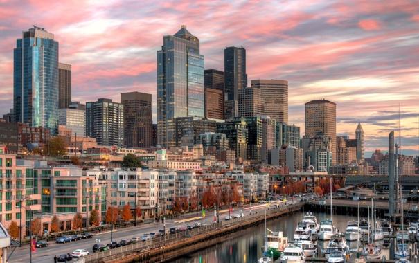 Фото обои город, дома, бухта, яхты, Downtown Seattle