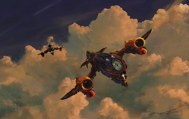 Фото обои небо, облака, огни, крылья, самолеты, мотор