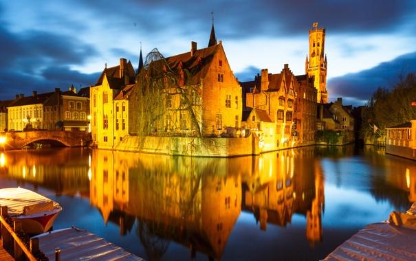Фото обои ночь, мост, огни, лодка, дома, канал, Бельгия