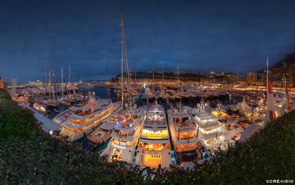 Фото обои panorama, night, yacht, monaco, port, monte carlo, hercule
